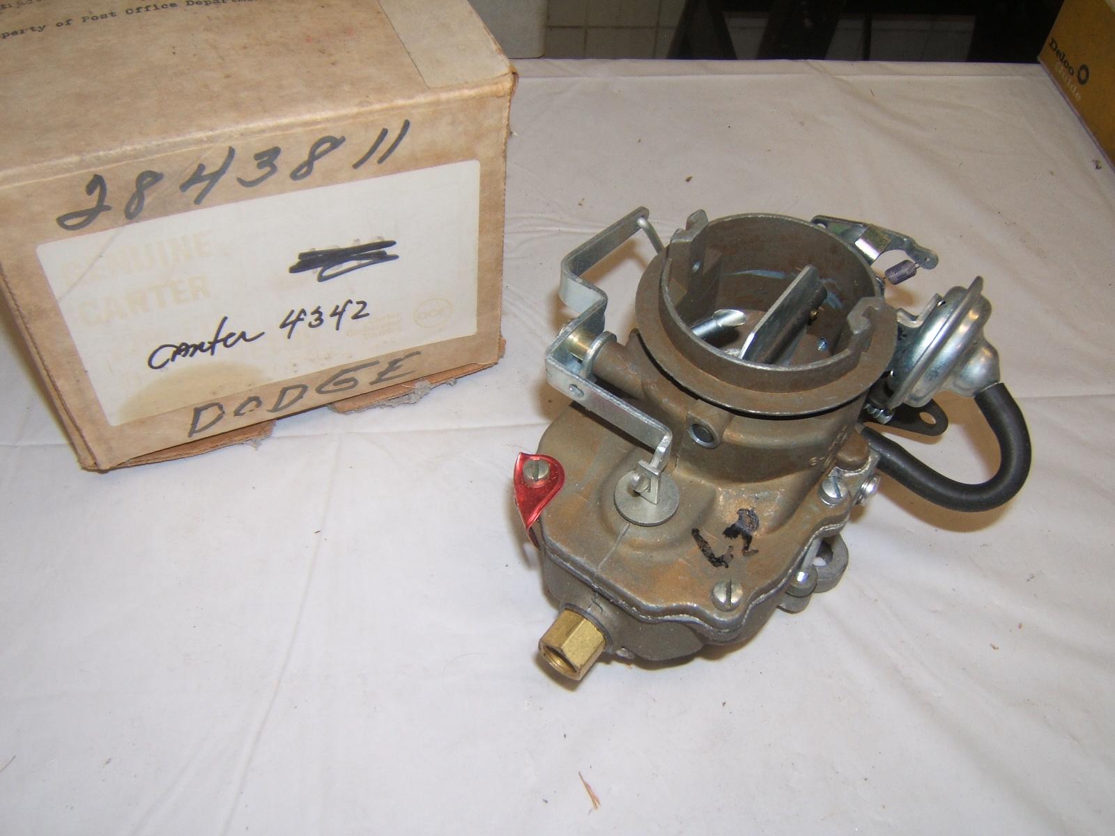 1967 1968 dodge A100 pickup & truck Carburetor NOS Carter #4342 (a 4342)