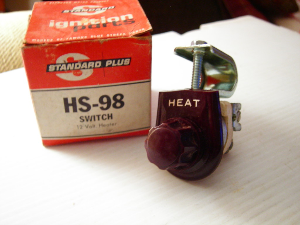 Vintage heater control switch (brown) 12v (a hs98)