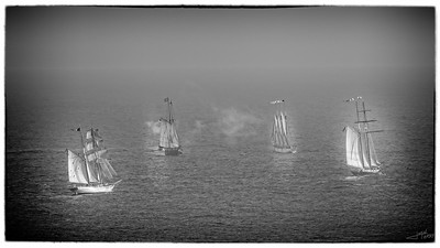 Tall Ship Battle B&W