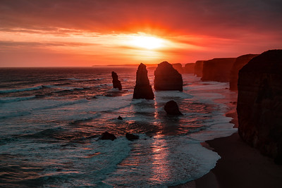 Red glow at sunset over the 12 Apostles