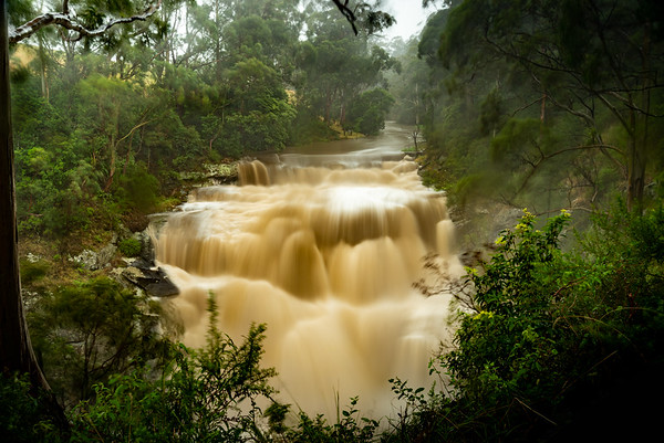 Agnes Falls in flood
