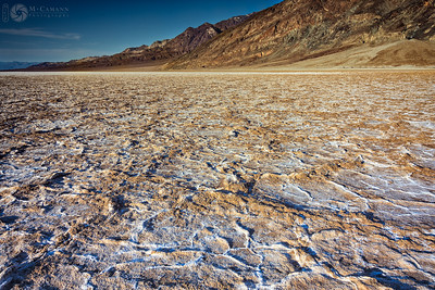 Death Valley National Park, California. Thankgiving break.  Salt crust at Badwater Basin in Death Valley.