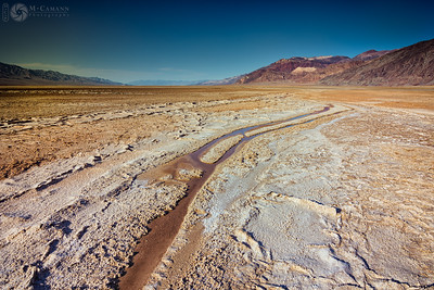 Death Valley National Park, California. Thankgiving break.  Alkali stream in Death Valley south of Badwater Basin.