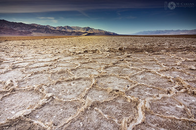 Death Valley National Park, California. Thankgiving break.  West Side Road salt polygons, with the Panamint Mountains across the valley.