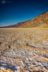 Death Valley National Park, California. Thankgiving break.  Salt crust at Badwater Basin.  The greatest challenge to photographing landscapes at Badwater Basin was finding salt polygons that haven't been trampled and shots that don't contain crowds of tourists.
