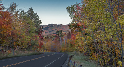 October in Adirondacks, road near Whiteface Mountain