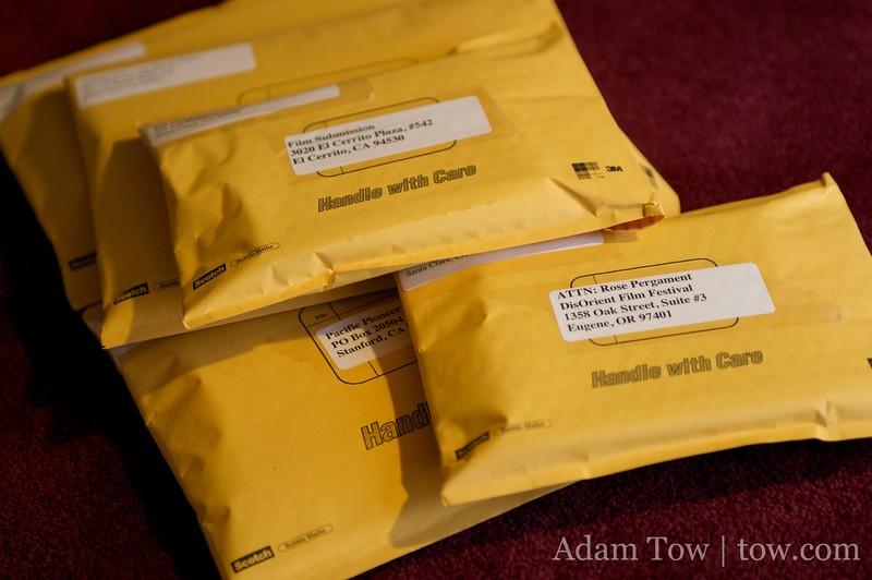 Padded envelopes full of Autumn Gem film festival submissions