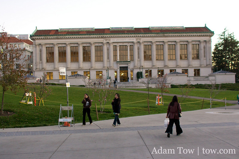 Rae walks to the main University Library on the Berkeley campus.