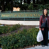 Rae stands outside one of the entrances to the University of California, Berkeley.