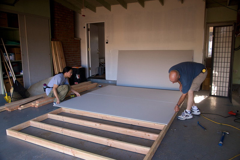Laying out the sheetrock.