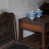 Wooden chairs and tablestand.