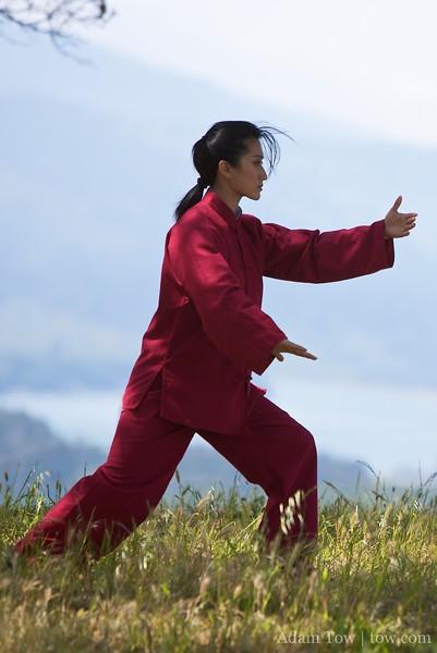 Li Jing practices Tai Chi at Vista Point.