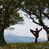 Li Jing practices Tai Chi at Vista Point.