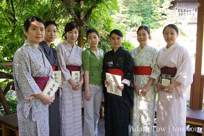 Yuki poses with her kimono posse.