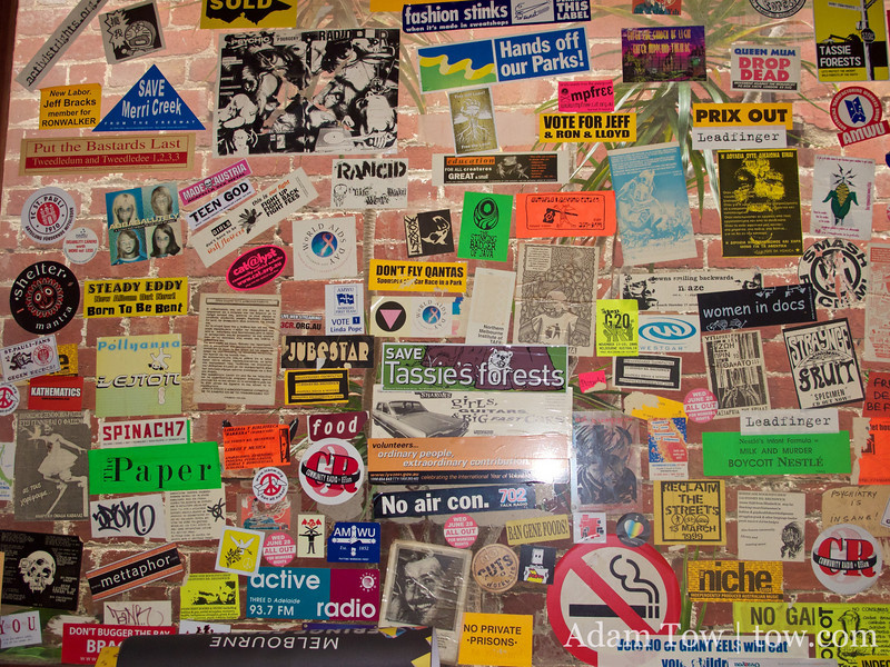 Stickers inside the 3CR radio station.
