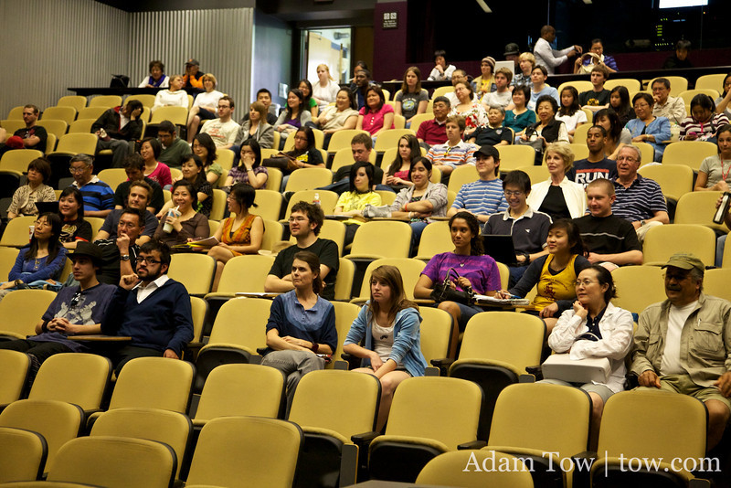 Listening to Professor Ow's introduction of us before the screening.