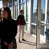 Rae outside the art building.
