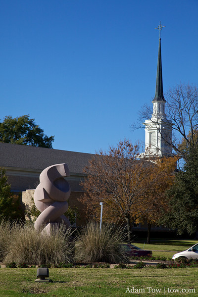 Sculpture and chapel at Austin College.