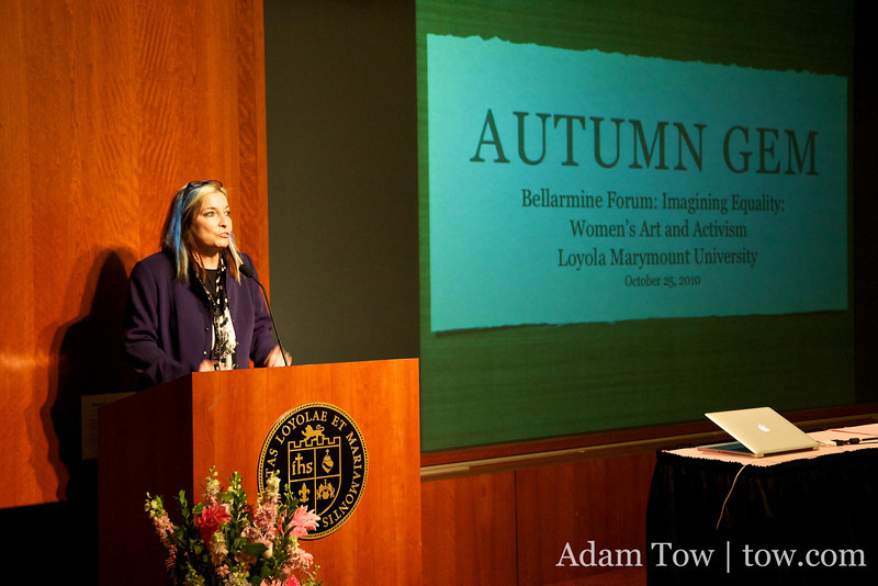 Gail Wronsky from LMU welcomes everyone to the Autumn Gem screening.