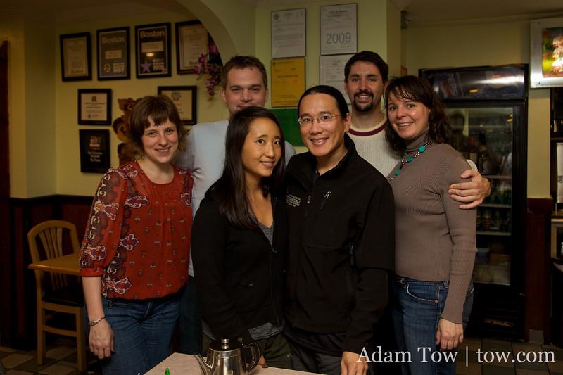 Dawn, Arnold, Rae, Adam, David, and Jessica at a Vietnamese restaurant following the Autumn Gem screening at the BCNC.