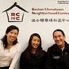 Carmen Chan, Rae Chang, and Adam Tow underneath the sign for the Boston Chinatown Neighborhood Center following the screening of Autumn Gem.