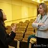Rae talks with Professor Hawks prior to the screening.