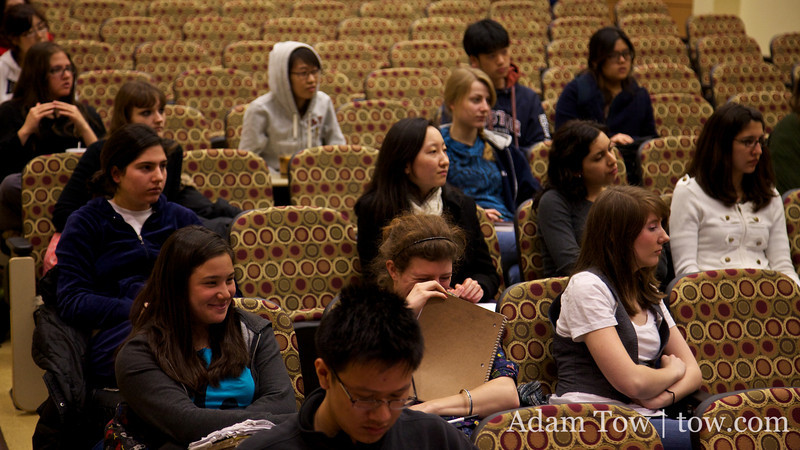 Students in Professor Menegon's class take notes about the role of women during the tail end of the Qing Dynasty.