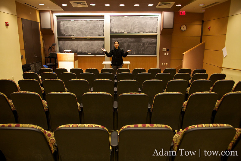 Adam talks to an empty room... for now.