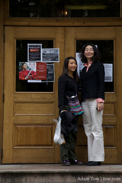 Professor Lingzhen Wang and Rae Chang outside Wilson Hall at Brown University.