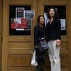 Professor Lingzhen Wang and Rae Chang outside Wilson Hall at Brown University.