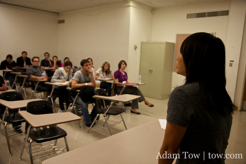 Rae introduces the film to the crowd at the Western Conference Association of Asian Studies.