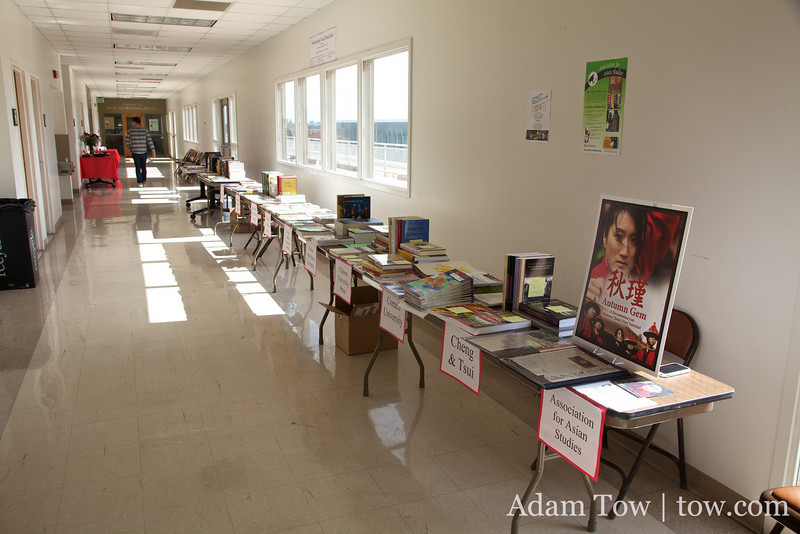 Books and DVDs for sale.