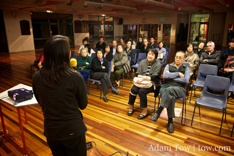 Rae fields questions following the screening of Autumn Gem at the Chinese Association of Victoria.