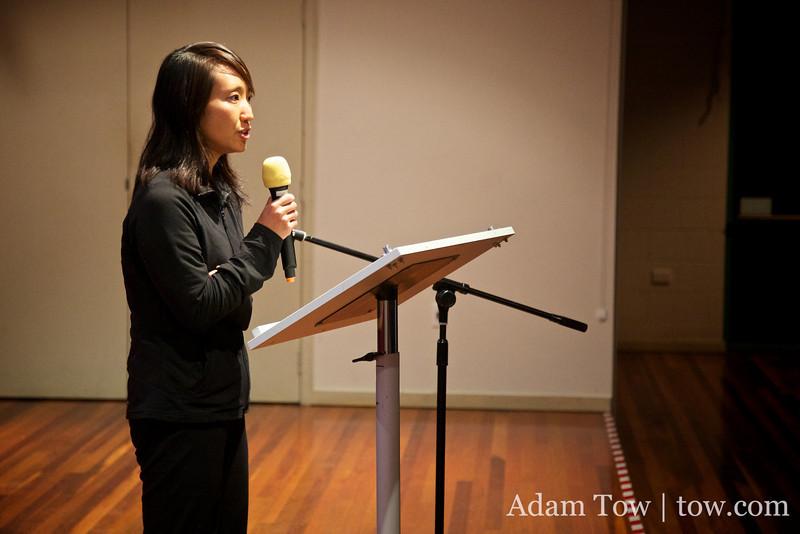 Rae gives her presentation.