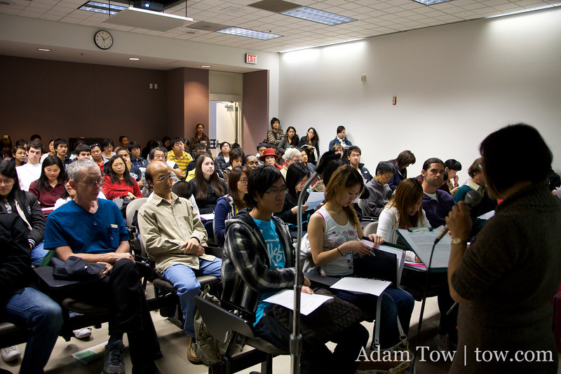 Suzanne Lo introduces us to a packed crowd at our screening at City College of San Francisco.