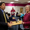 Professor Wang speaks with Cynthia Tripp prior to the screening at the College of Southern Nevada.