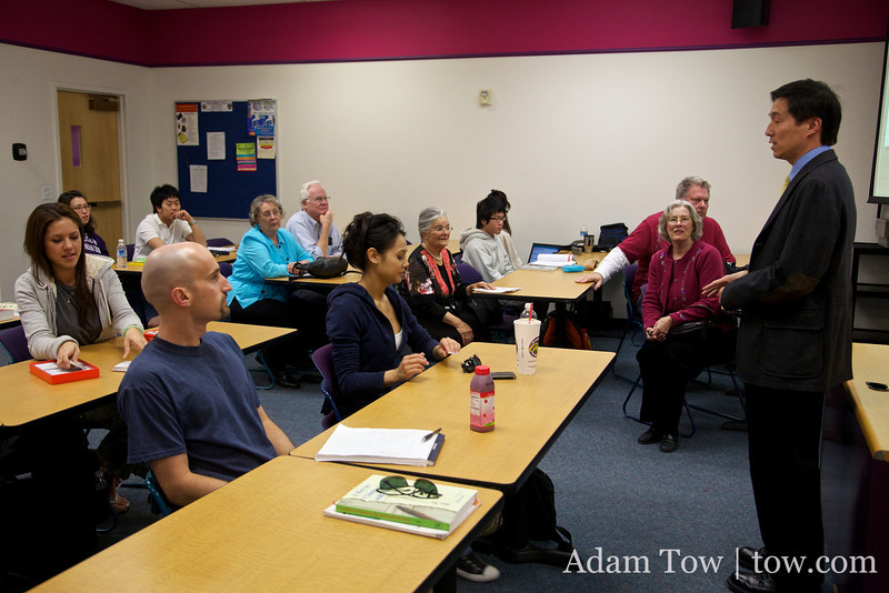 Professor Wang speaks to his students and guests at the Autumn Gem screening at the College of Southern Nevada.