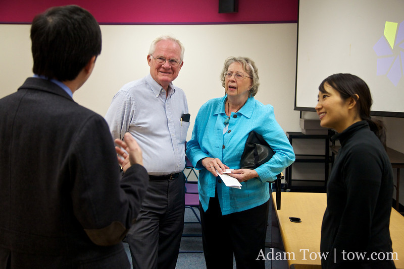 Talking with Professor Wang following the screening.