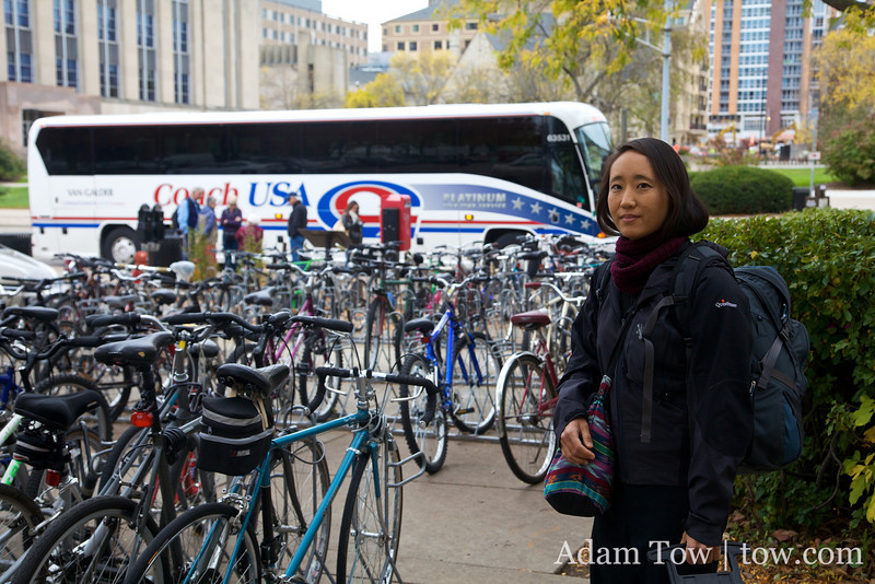 Rae in front of the Coach USA bus we would take to go to Chicago.