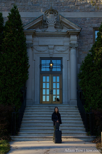 Rae stands in front of Blaustein Humanities Center.