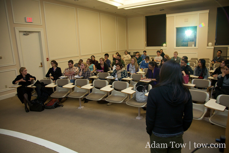 Professor Dooling and Rae answer questions from the crowd during the Autumn Gem screening at Connecticut College.