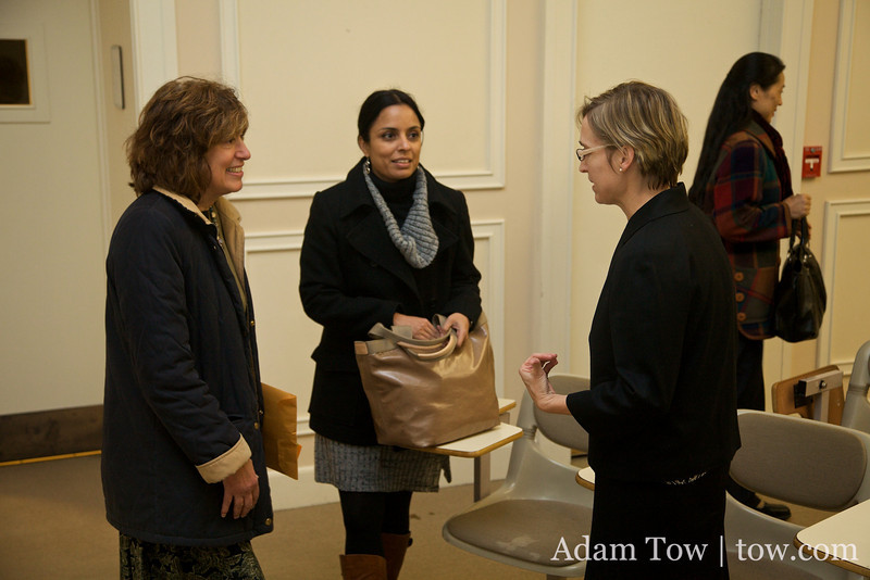 Professor Dooling talks with her fellow Connecticut College colleagues.