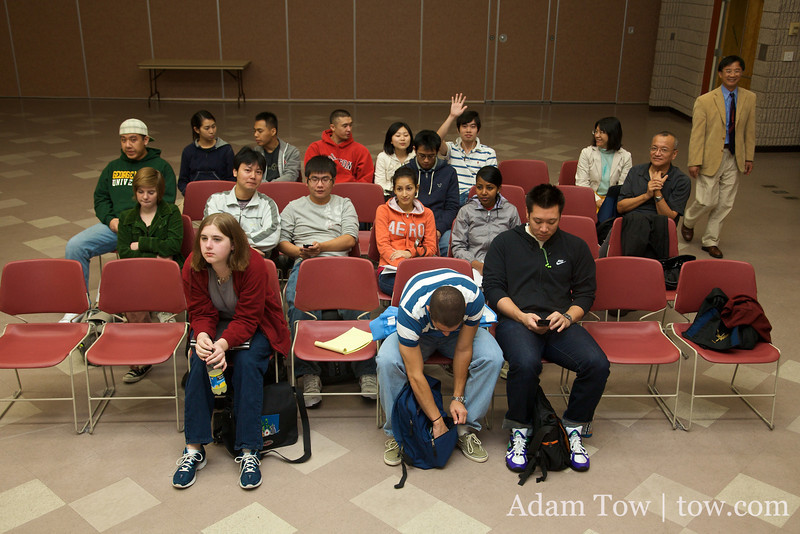Students in Professor Liu's class gather to watch the film.