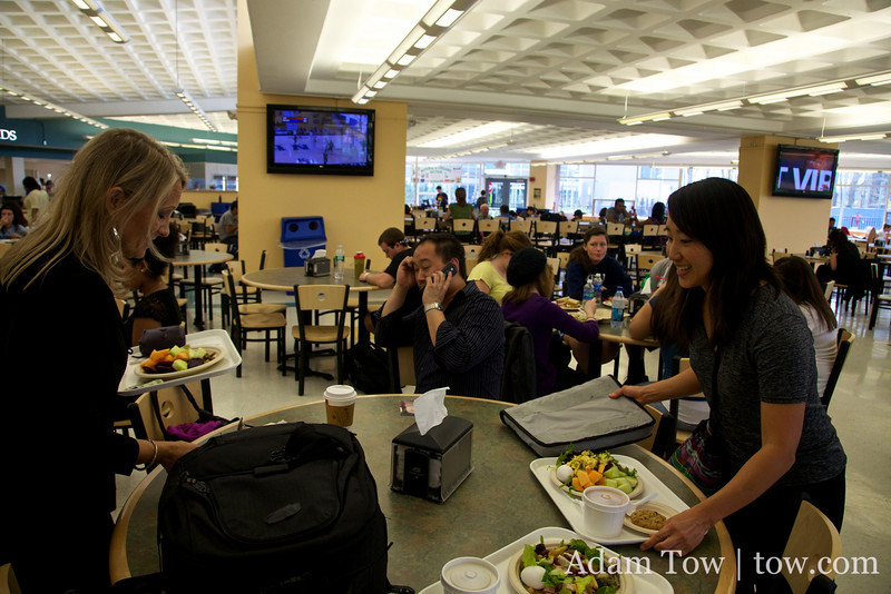 Getting lunch at the student cafeteria.