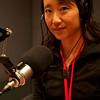 Rae with her radio interview headphones on.