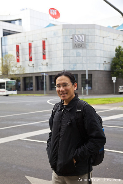 Adam outside the ABC Station on Southbank Blvd in Melbourne.
