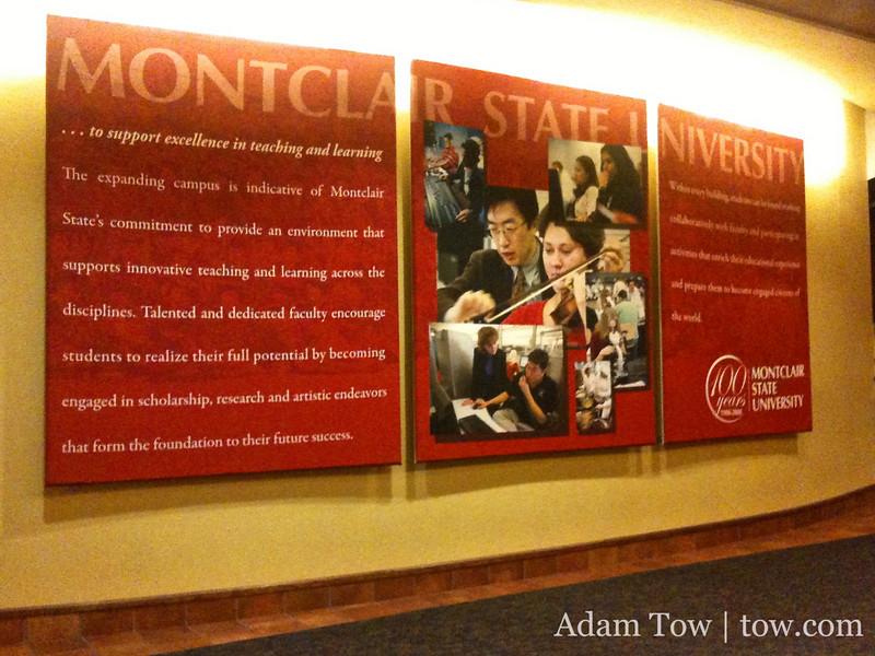 Montclair State University giant poster inside University Hall.