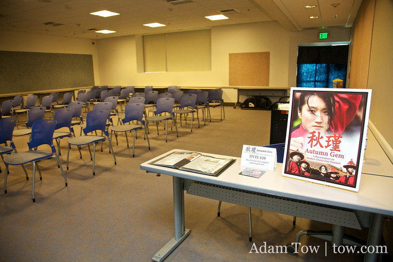 Setting up before the screening at the Monterey Park Public Library.