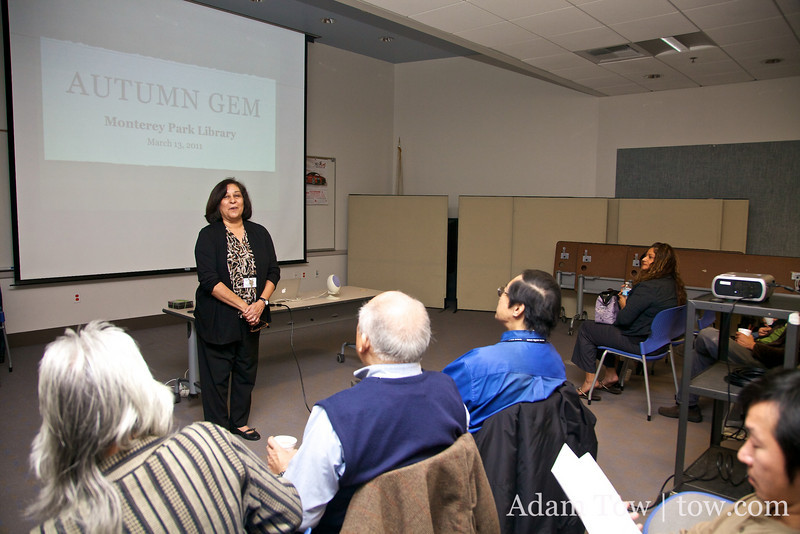 Cindy introduces her to the screening at the Monterey Park Public Library.