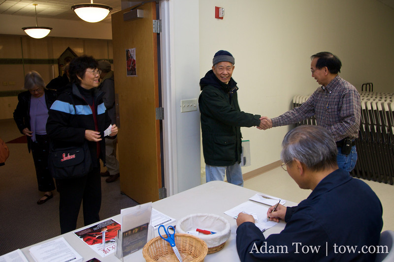 Welcoming guests as they arrive to the New Jersey Community Center screening of Autumn Gem.